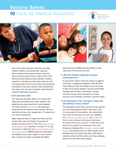 Vaccine Safety: 10 Facts for Medical Assistants 6/10